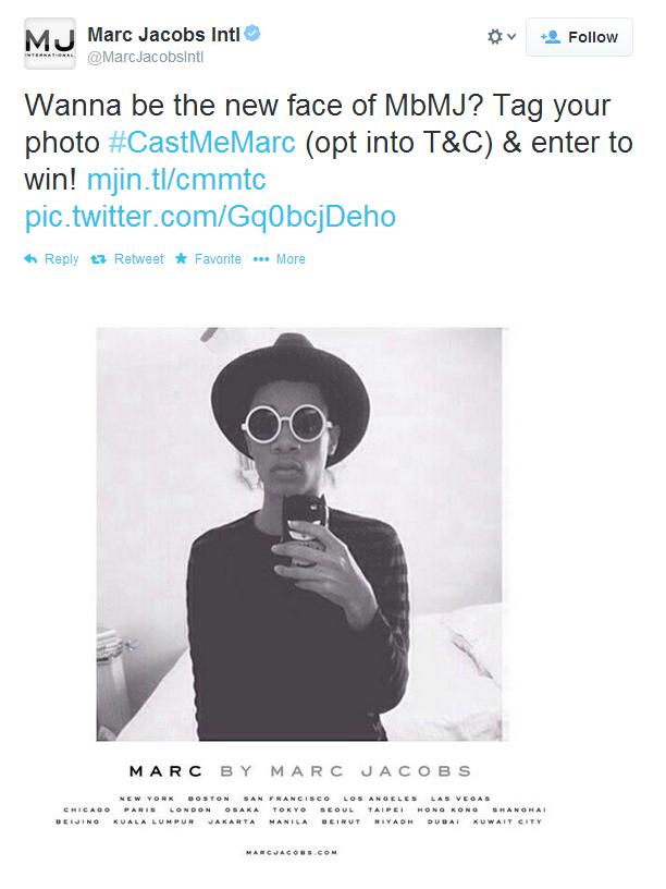 Marc Jacobs cherche sa nouvelle égérie sur Twitter !