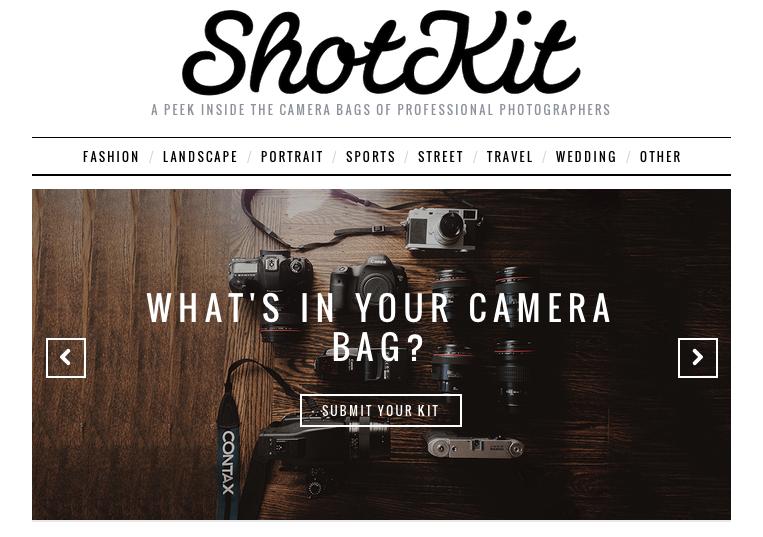 ShotKit.com : ce que contiennent les sacs des photographes célèbres
